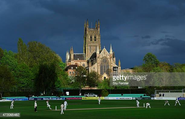 A general view of Worcester Cathedral and New Road during the final session of day one of the Division One LV County Championship match between...