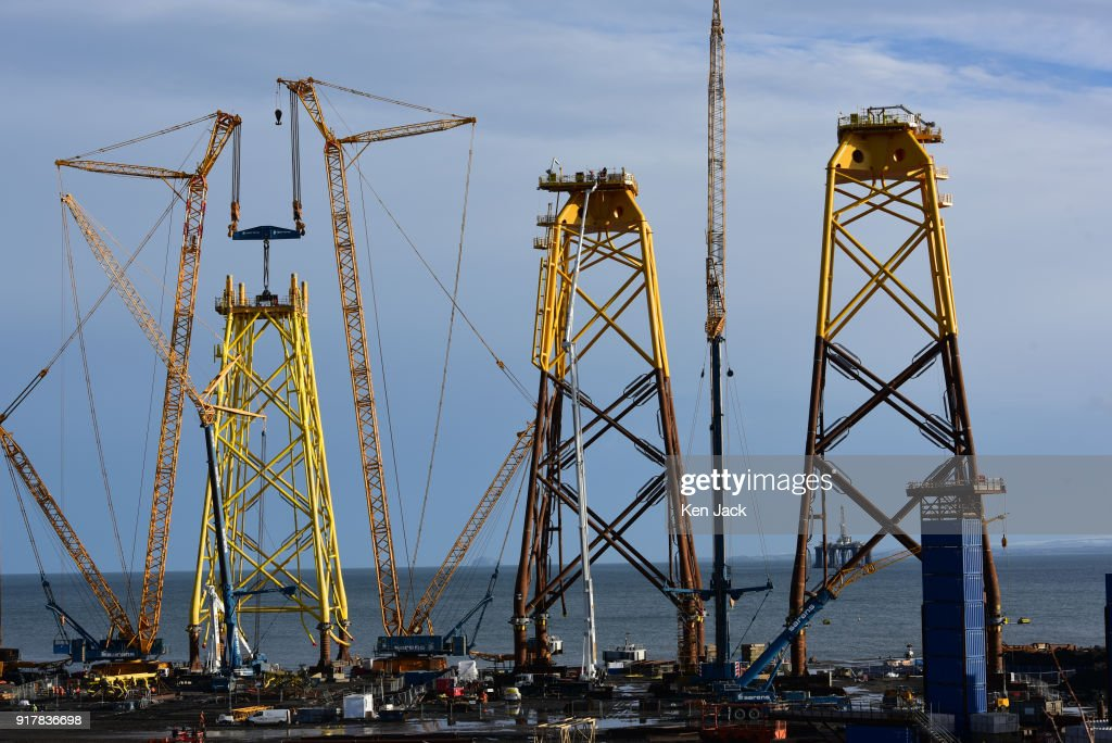 A general view of work under way in the BiFab Methil yard in Fife where many of the workforce were to be issued with redundancy notices today, on February 13, 2018 in Buckhaven, Scotland. The company faced possible administration in November 2017 following disputes over a contract to supply large-scale metal jackets for offshore wind turbines, but was enabled to continue trading by a deal brokered by the Scottish Government, however the contract is now nearing completion.