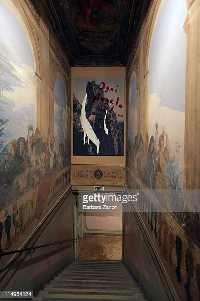 A general view of works by Julian Schnabel during a press preview of 'Permanently Becoming And The Architecture of Seeing' at Correr Museum at on May...