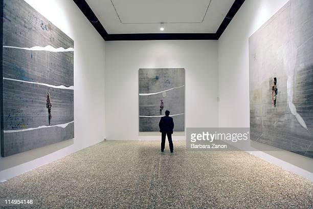 General view of works by Julian Schnabel during a press preview of 'Permanently Becoming And The Architecture of Seeing' at Correr Museum at on May...
