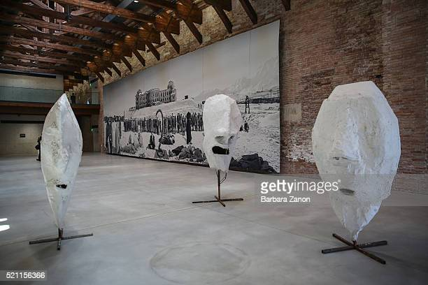 General view of works of Goshka Macuga and Franz West during the press opening of 'Accrochage' Exhibition at Punta della Dogana on April 14, 2016 in...