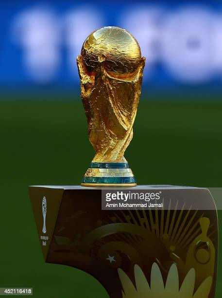 General view of World Cup Trophy during the 2014 World Cup final match between Germany and Argentina at The Maracana Stadium on July 13, 2014 in Rio...