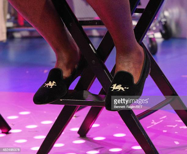 A general view of Wouri Vice's shoes during during 106 Park at BET studio on July 21 2014 in New York City