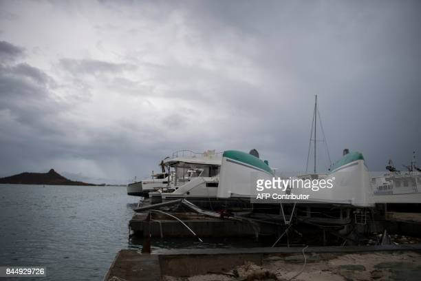 General view of wrecked boats in Geminga shipyard in Marigot taken on September 9 2017 in SaintMartin island devastated by Irma hurricane Officials...