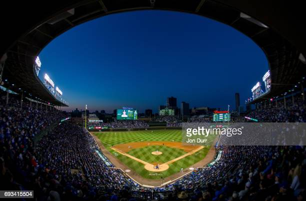 A general view of Wrigley Field as Mike Montgomery of the Chicago Cubs pitches against Derek Dietrich of the Miami Marlins during the seventh inning...