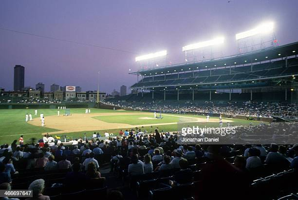 General view of Wrigley Field as the Chicago Cubs take batting practice for the first time during a night game at Wrigley Field on August 8, 1988 in...