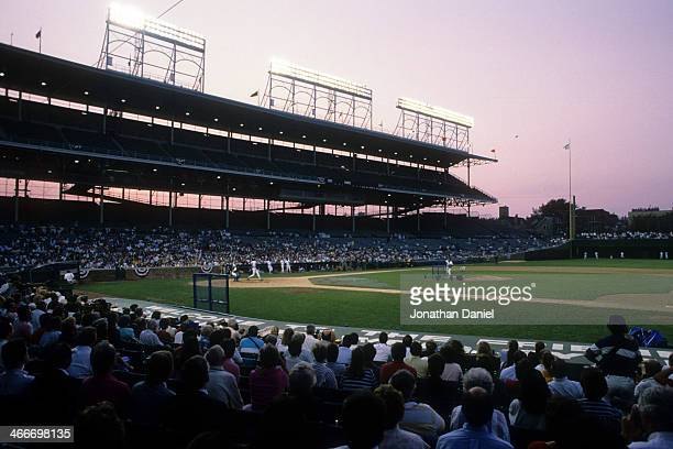 General view of Wrigley Field as the Chicago Cubs take batting practice for the first time during a night game at Wrigley Field on August 8 1988 in...