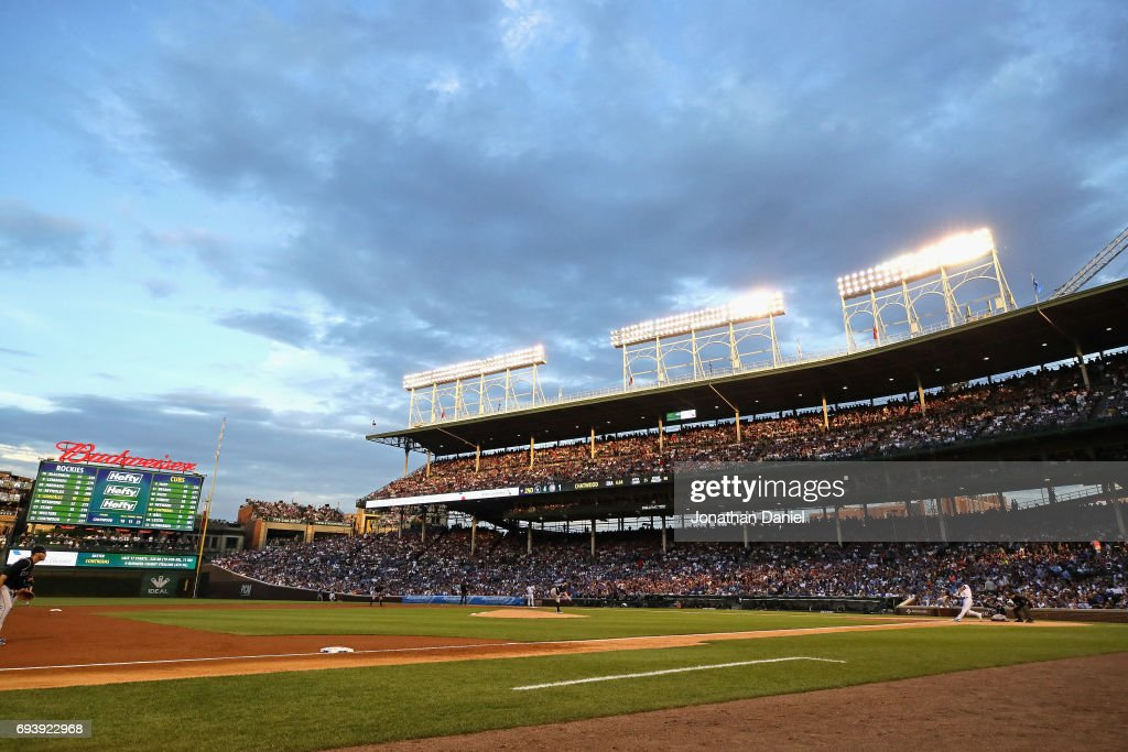A general view of Wrigley Field as the Chicago Cubs take on the Colorado Rockies on June 8, 2017 in Chicago, Illinois.
