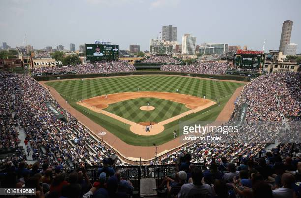 A general view of Wrigley Field as the Chicago Cubs take on the Milwaukke brewers on August 14 2018 in Chicago Illinois The Brewers defeated the Cubs...