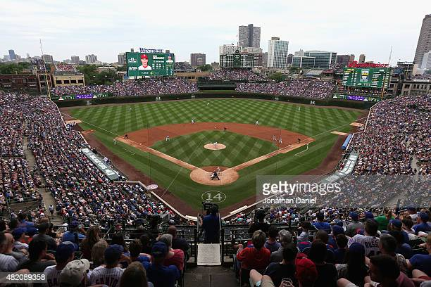 General view of Wrigley Field as the Chicago Cubs take on the Philadelphia Phillies on July 26, 2015 in Chicago, Illinois. The Phillies defeated the...