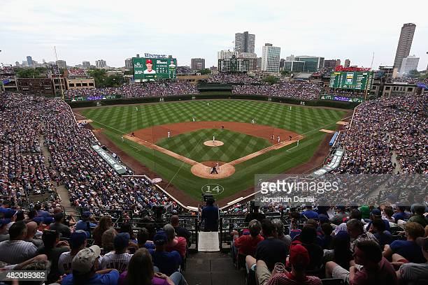 A general view of Wrigley Field as the Chicago Cubs take on the Philadelphia Phillies on July 26 2015 in Chicago Illinois The Phillies defeated the...