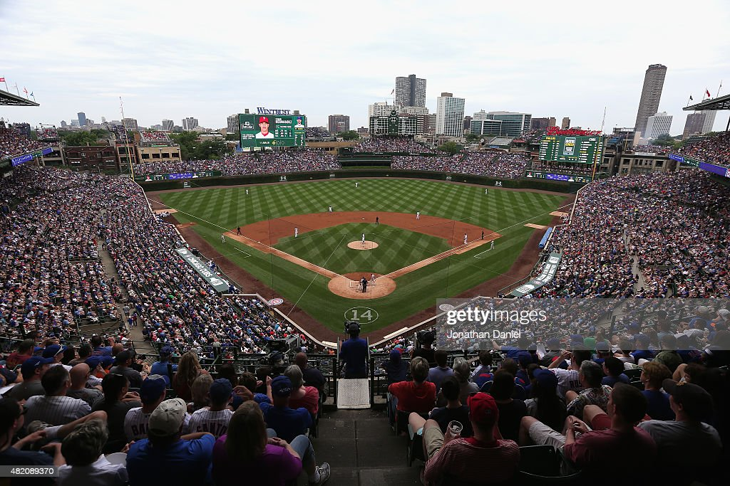 A general view of Wrigley Field as the Chicago Cubs take on the Philadelphia Phillies on July 26, 2015 in Chicago, Illinois. The Phillies defeated the Cubs 11-5.