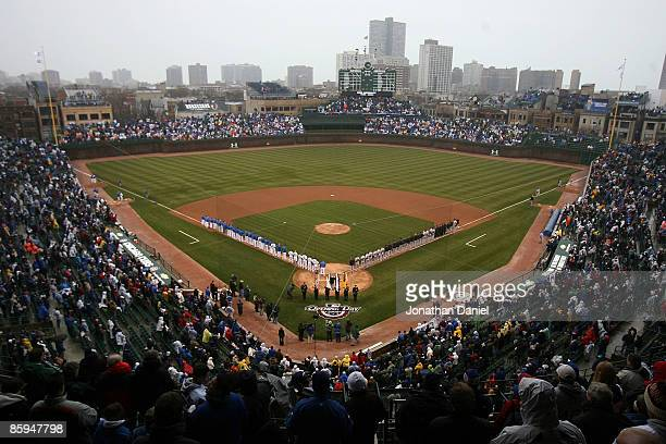 A general view of Wrigley Field before the Opening Day game between the Chicago Cubs and the Colorado Rockies on April 13 2009 in Chicago Illinois