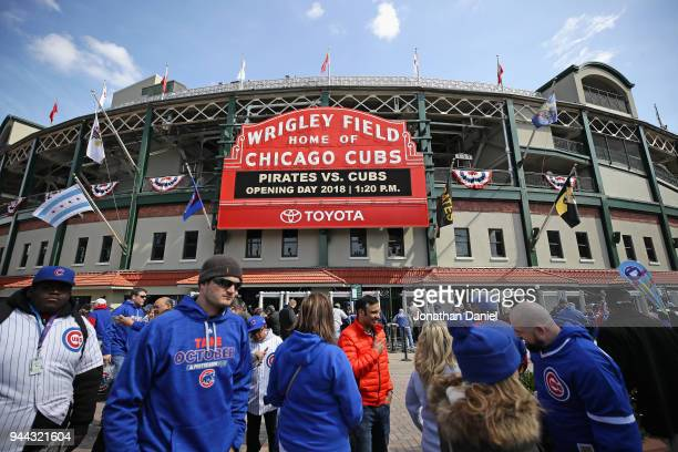 A general view of Wrigley Field before the Opening Day home game between the Chicago Cubs and the Pittsburg Pirates on April 10 2018 in Chicago...