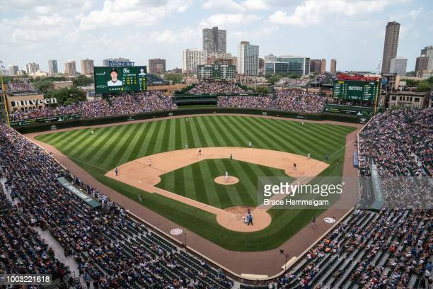 A general view of Wrigley Field during a game between the Minnesota Twins and Chicago Cubs on July 1 2018 at Wrigley Field in Chicago Illinois The...