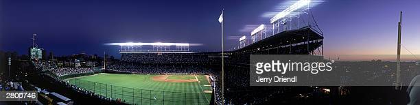General view of Wrigley Field from a right field skybox across the street from Wrigley Field during the National League game between the Philadelphia...