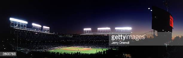 General view of Wrigley Field from Murphy's Bleachers at sunset across the street from Wrigley Field during the National League game between the...