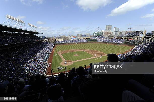 A general view of Wrigley Field from the upper deck behind home plate during the game between the Chicago Cubs and Milwaukee Brewers on Opening Day...