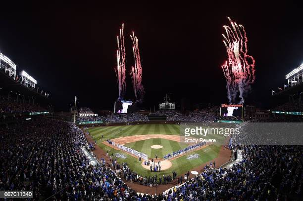 General view of Wrigley Field prior to the home opener between the Chicago Cubs and the Los Angeles Dodgers on April 10, 2017 in Chicago, Illinois.