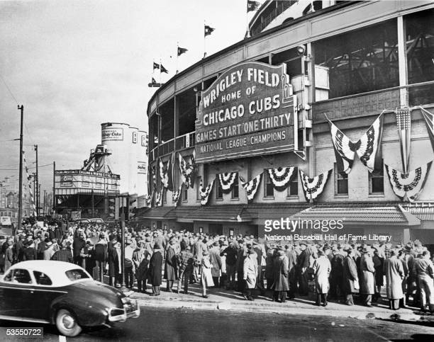 A general view of Wrigley Field Stadium circa 1945 in Chicago Illinois