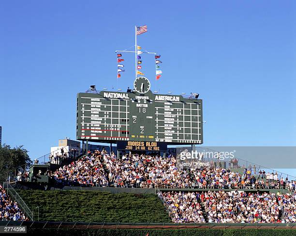General view of Wrigley Field's center field scoreboard during the National League game between the Philadelphia Phillies and the Chicago Cubs at...