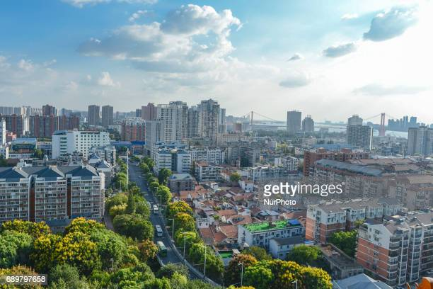 General view of Wuhan from Yellow Crane Tower site situated on Sheshan . On Monday, September 14, 2016 in Wuhan, China.