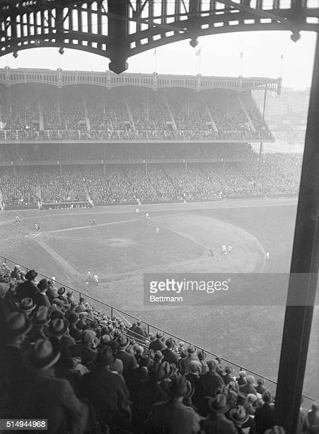 General view of Yankee Stadium and the baseball diamond during the New York Yankees' season opener against the Washington Senators