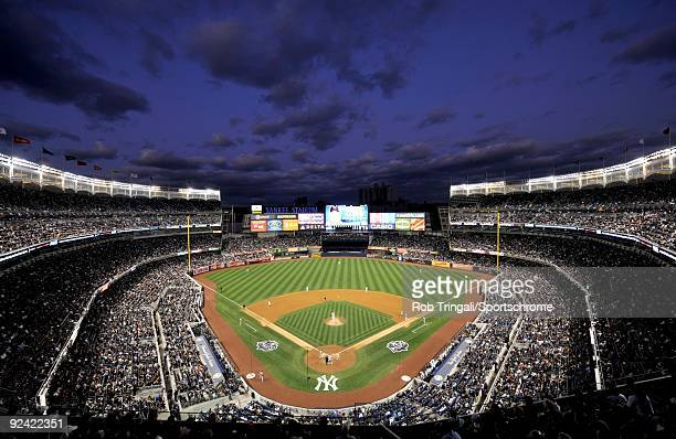 A general view of Yankee Stadium at dusk during a game between the New York Yankees and the Minnesota Twins in Game One of the ALDS during the 2009...