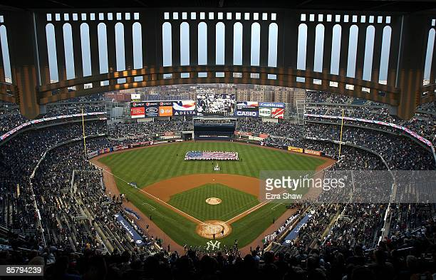 A general view of Yankee Stadium during the playing of the National Anthem before the New York Yankees game against the Chicago Cubs at Yankee...