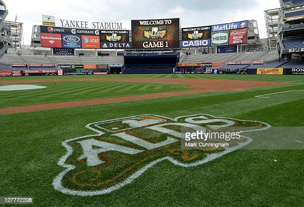 A general view of Yankee Stadium with the ALDS logo painted on the field and displayed on the scoreboard before Game One of the American League...