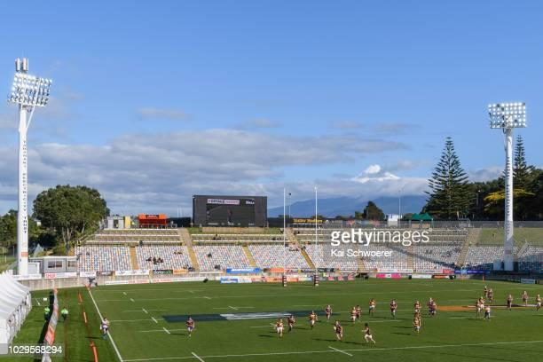 General view of Yarrow Stadium and Mount Taranaki during the curtain raiser between Taranaki U18 and Bay of Plenty U18 prior to the round four Mitre...