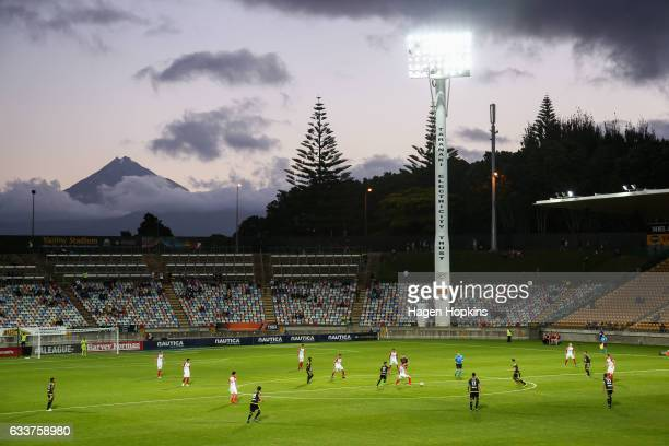 A general view of Yarrow Stadium and Mt Taranaki during the round 18 ALeague match between the Wellington Phoenix and the Western Sydney Wanderers at...