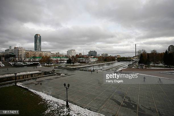 A general view of Yekaterinburg's 'Historic Square' with the Vysotsky business centre towering above the skyline on November 2 2011 in Yekaterinburg...