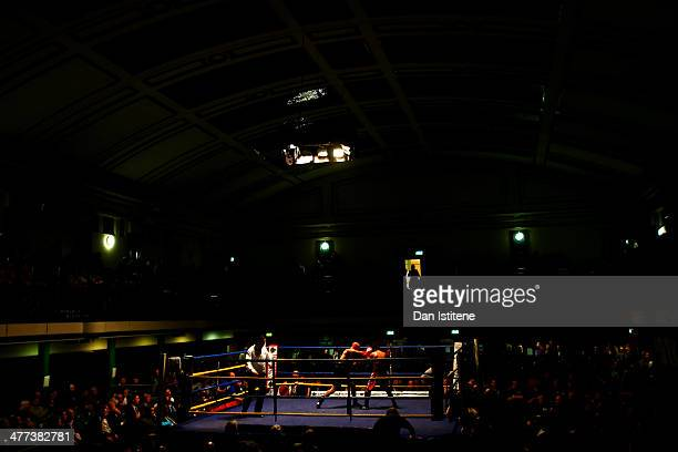 A general view of York Hall as Frankie Monkhouse takes on Lubos Priehradnik during their Light Welterweight bout at York Hall on March 8 2014 in...