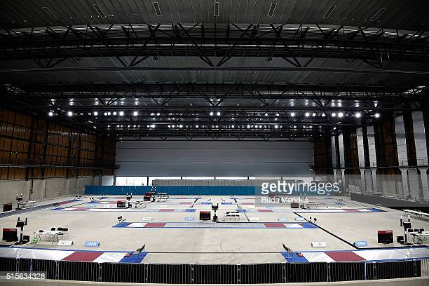 General view of Youth Arena during the Modern Pentathlon Tournament Aquece Rio Test Event for the Rio 2016 Olympics at Deodoro Olympic Park on March...