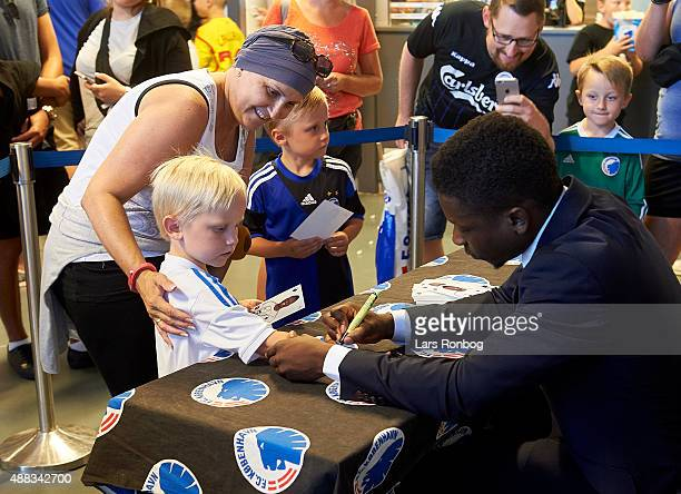 General view of youth fans of FC Copenhagen receiving autographs from Danny Amankwaa of FC Copenhagen on the Familie tribunen prior to the Danish...
