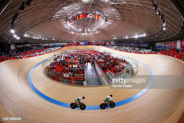 General view of Yuli Verdugo Osuna and Luz Daniela Gaxiola Gonzalez of Team Mexico sprint during the Women's team sprint qualifying of the Track...