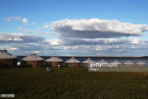 General view of yurts in the Huhenuoer Grassland on August 27, 2009 in Hulun Buir League of the Inner Mongolia Autonomous Region, China. Manzhouli is...