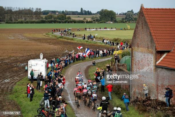 General view of Yves Lampaert of Belgium, Kasper Asgreen of Denmark, Zdenek Stybar of Czech Republic and Team Deceuninck - Quick-Step, Wout Van Aert...