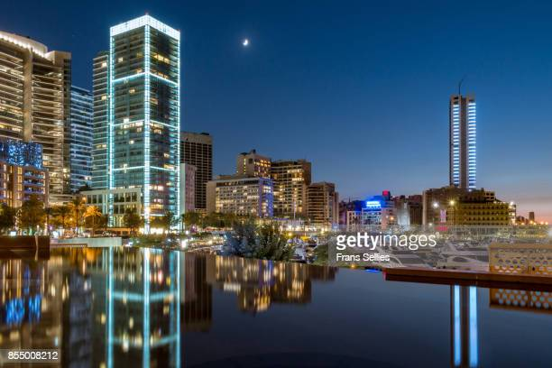 a general view of zaitunay bay and the new waterfront at night, beirut, lebanon - beirut stock pictures, royalty-free photos & images