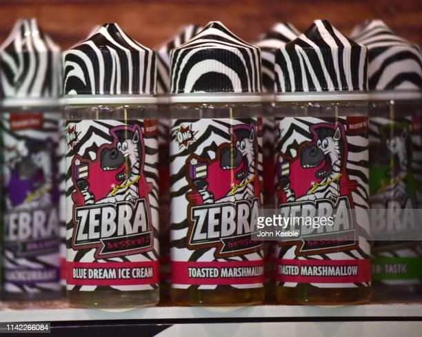 A general view of Zebra Desserts Blue Dream Ice Cream flavoured Eliquid on display during Vape Jam UK 2019 at ExCel on April 12 2019 in London...