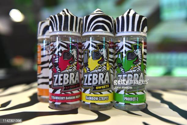 A general view of Zebra Sweetz flavoured Eliquid on display during Vape Jam UK 2019 at ExCel on April 12 2019 in London England Vape Jam UK the...