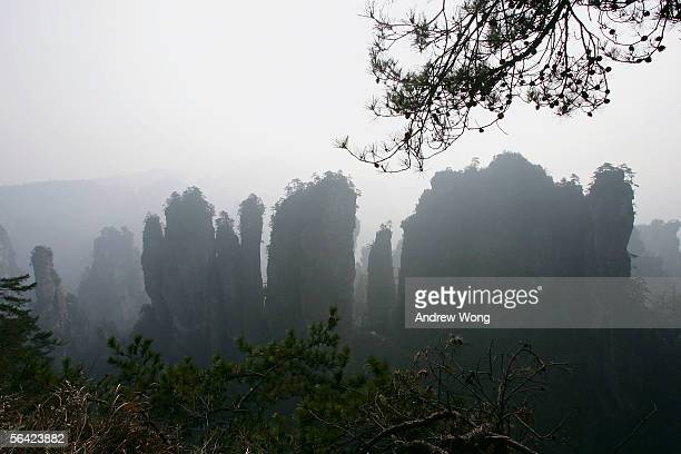 A general view of Zhangjiajie National Park on December 12 2005 in China's Central Hunan province Since 2001 the local government has demolished...