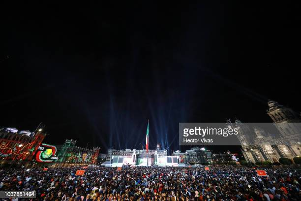 General view of Zocalo square during the Mexico Independence Day Celebrations at Zocalo on September 15 2018 in Mexico City Mexico This event marks...