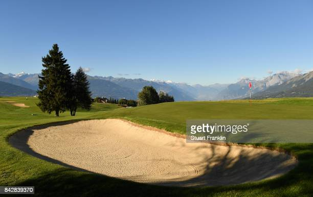 A general view oft the eighth hole during practice prior to the start of the Omega European Masters at CranssurSierre Golf Club on September 5 2017...