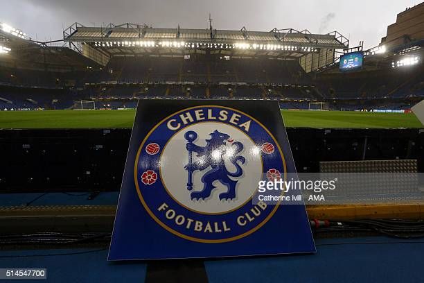 General view ofThe Chelsea badge at the stadium before the UEFA Champions League match between Chelsea and Paris SaintGermain at Stamford Bridge on...