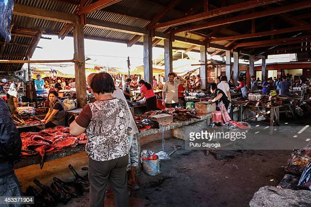 A general view ofthe Langowan traditional market on August 9 2014 in Langowan North Sulawesi The Langowan traditional market is famous for selling a...