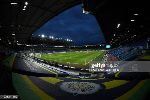 General view ofthe stadium is seen during the English Premier League football match between Leeds United and Southampton at Elland Road in Leeds,...