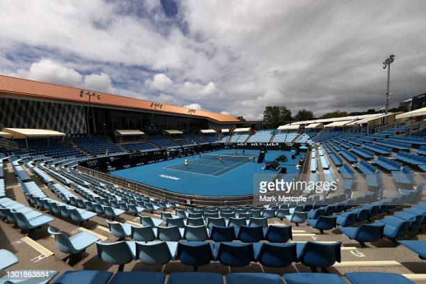 General view on 1573 Arena during the Women's Doubles second round match between Bernarda Pera of the United States and Rosalie Van Der Hoek of the...