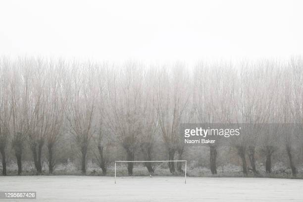 General view on a frosty cold morning of Convent Field as an empty football pitch is seen on January 10, 2021 in Lewes, East Sussex.